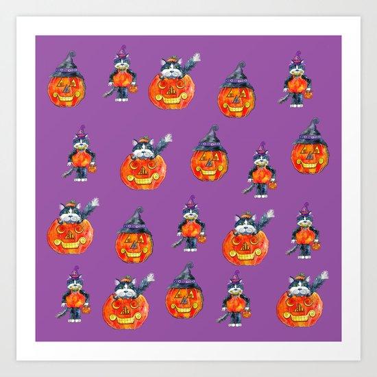 Black Cats and Jack-o-lanterns Art Print