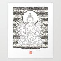 Tsepakmey Amitayus - The Buddha of boundless life Art Print