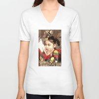 korean V-neck T-shirts featuring Korean Dancing Girls by Robert S. Lee Art