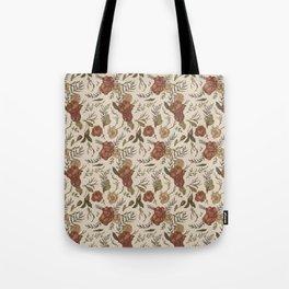 Antique Floral Pattern Tote Bag
