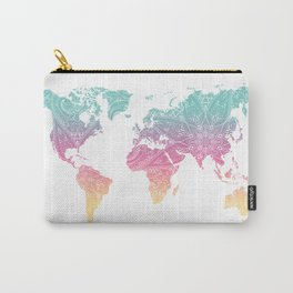 Mandala Pastel World Map Carry-All Pouch