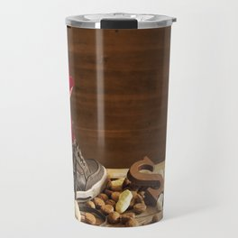 Shoe with carrots, for traditional Dutch holiday 'Sinterklaas' Travel Mug