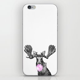 Bubble Gum Moose in Black and White iPhone Skin