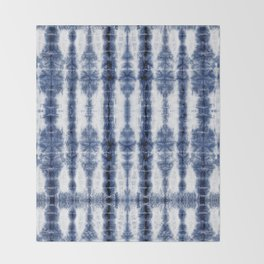 Tiki Shibori Blue Throw Blanket