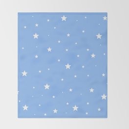 Scattered Stars on Sky Blue Throw Blanket