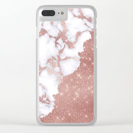 Girly Chic Modern Rose Gold Glitter Marble Pattern Clear iPhone Case