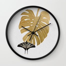 Butterfly & Monstera Wall Clock