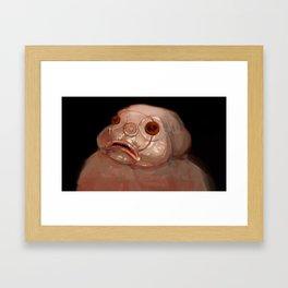 Strange creature digital texture illustration fish hybrid human painting Framed Art Print
