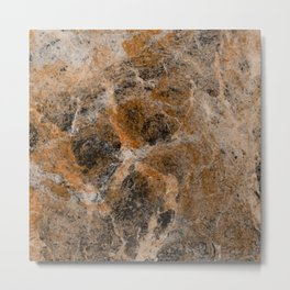 Rusting Marble - Abstract Marble Effect Painting in gold, bronze, black and white Metal Print
