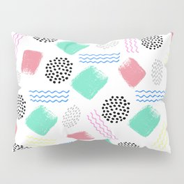 Geometrical pink teal black Memphis 80's pattern Pillow Sham