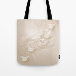 Fabulous butterflies and wattle with textured chevron pattern in subtle iced coffee Tote Bag