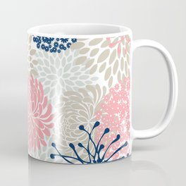 Floral Mixed Blooms, Blush Pink, Navy Blue, Gray, Beige Coffee Mug