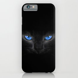 Black Cat in Blue Eyes iPhone Case