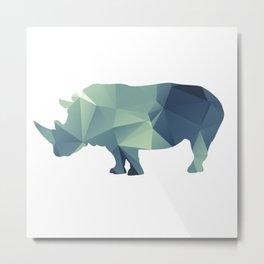 Rihno - blue geomatric Metal Print