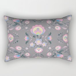 Folk Flowers in Pink and Grey Rectangular Pillow