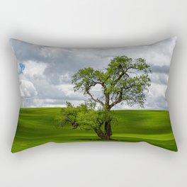 Single Tree in Green Field Rectangular Pillow