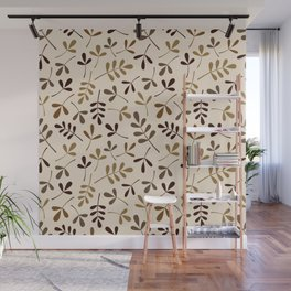 Assorted Leaf Silhouettes Gold Browns Cream Ptn Wall Mural