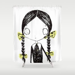 Wednesday Addams Illustrated Shower Curtain