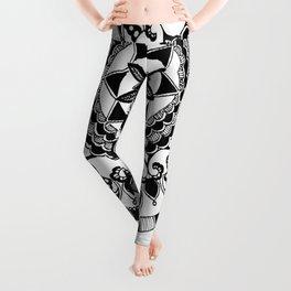 Black and White Circular Hand-Drawn Mandala Leggings