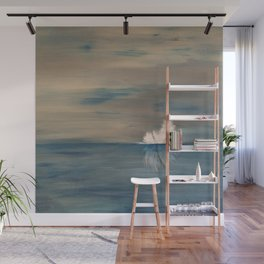 Floating Feather. Abstract Painting by Jodi Tomer. Abstract Feather on Water. Wall Mural