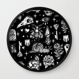 Full Of Secrets Witchy Goth Punk Pattern Wall Clock