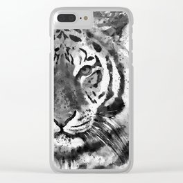 Black And White Half Faced Tiger Clear iPhone Case