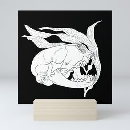 Seal Skull with Kelp (white) Mini Art Print