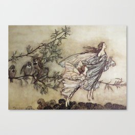 """""""Fairies Tiff with the Birds"""" by Arthur Rackham Canvas Print"""