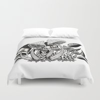 friendship Duvet Covers featuring Mushroom Friendship by menis_art