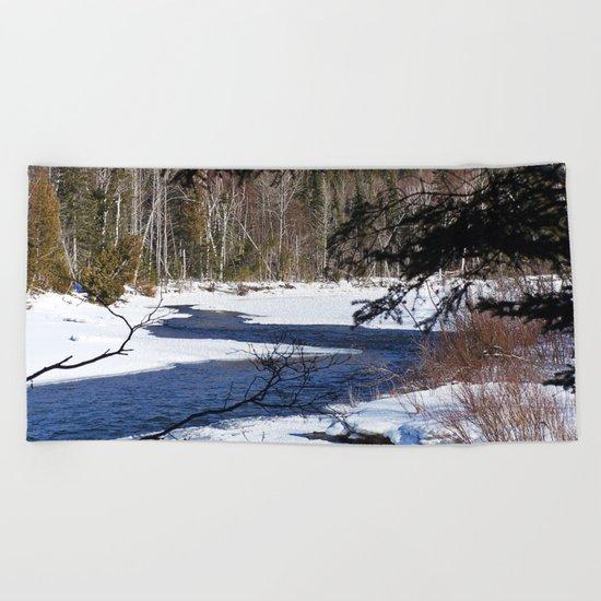 River through Winter Beach Towel