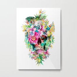 Tropical Skull Metal Print