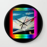 bible Wall Clocks featuring THE BIBLE by KEVIN CURTIS BARR'S ART OF FAMOUS FACES