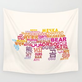 Bear in Different Languages Wall Tapestry