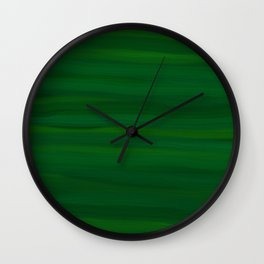 Emerald Green Stripes Abstract Wall Clock