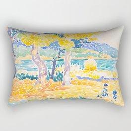 Pines on the Coastline Henri-Edmond Cross Neo-Impressionism Pointillism Watercolor Painting Rectangular Pillow
