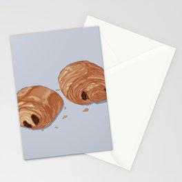 Deux pains au chocolat blue Stationery Cards