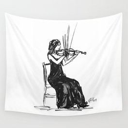 Playing the violin Wall Tapestry