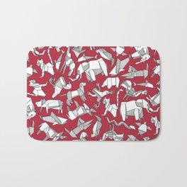 origami animal ditsy red Bath Mat