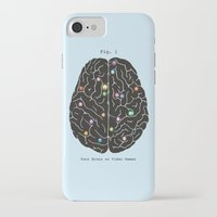 video games iPhone & iPod Cases featuring Your Brain On Video Games by Terry Fan