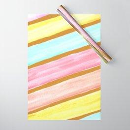 Retro Watercolor Stripes  Wrapping Paper