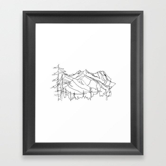 Squamish Summits :: Single Line Gerahmter Kunstdruck