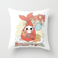 Aqua cat_ Rappa Throw Pillow