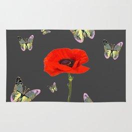 RED POPPY FLOWER & GREY BUTTERFLIES Rug