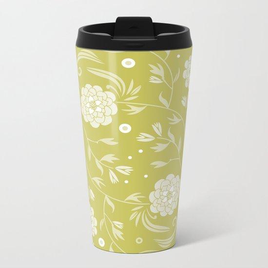 Sunny floral pattern Metal Travel Mug