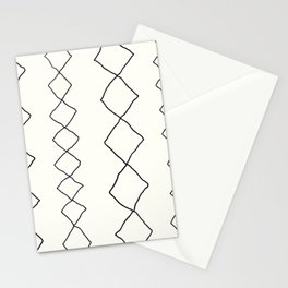 Moroccan Diamond Stripe in Black and White Stationery Cards