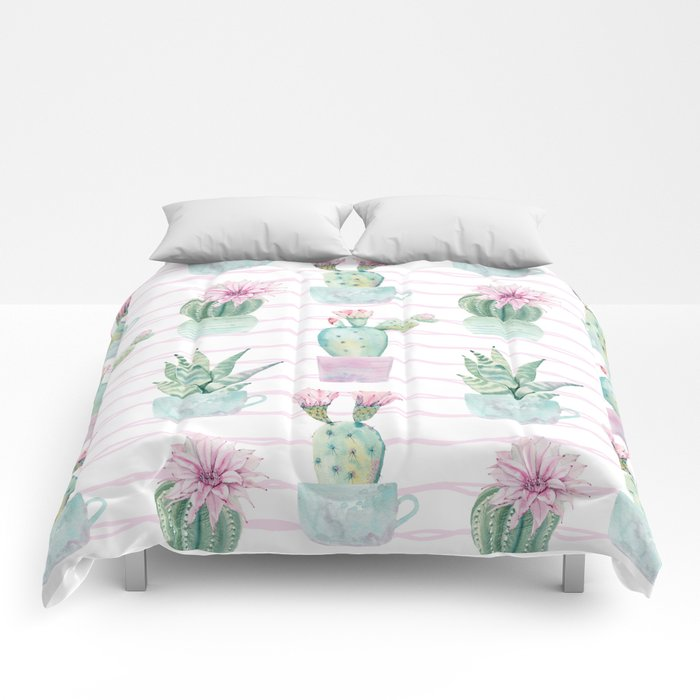 Cute Potted Cacti Stripe Pattern Comforters