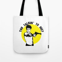 taxi driver Tote Bags featuring Taxi driver quote by Buby87