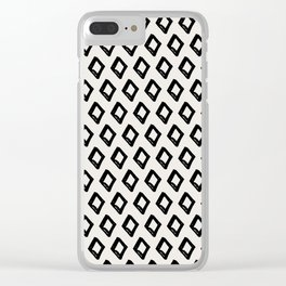 Modern Diamond Pattern 2 Black on Light Gray Clear iPhone Case