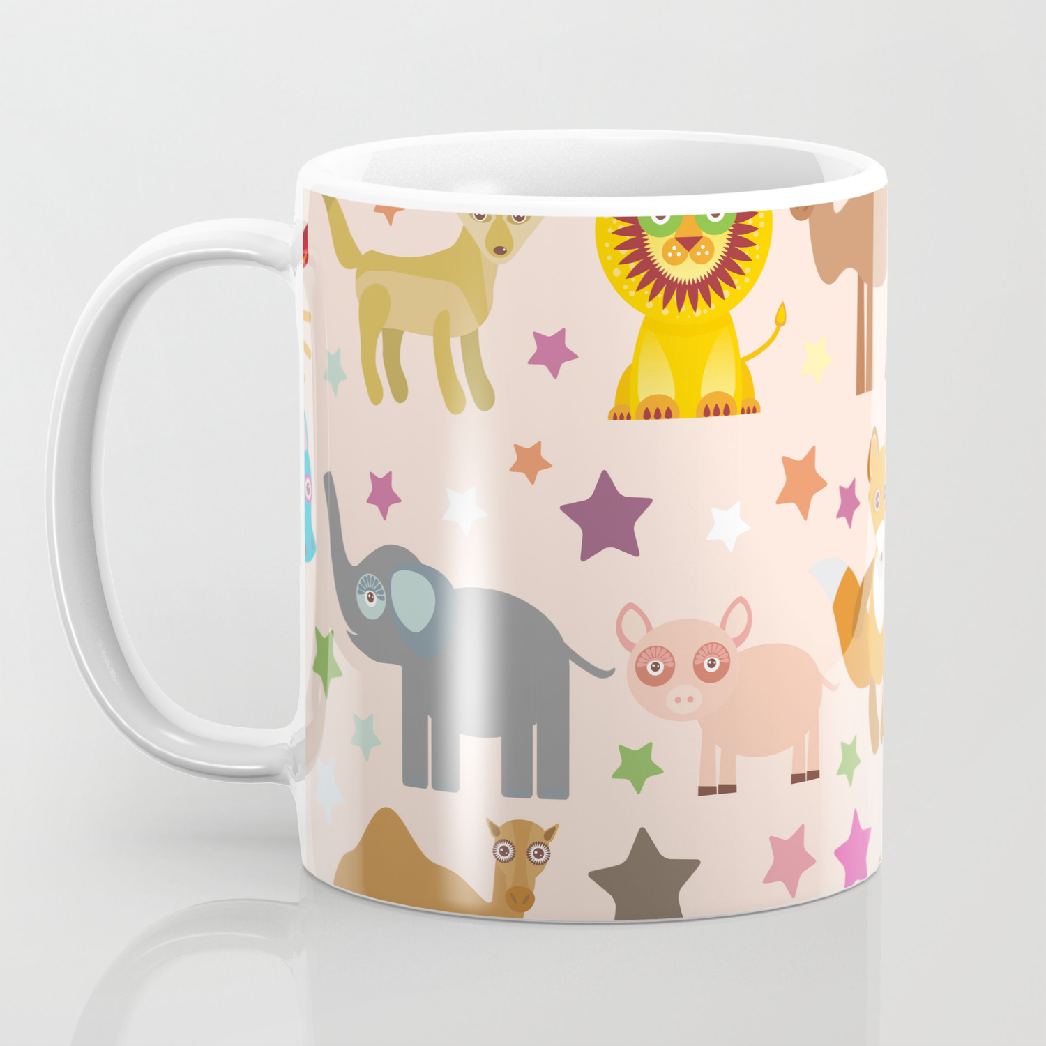 Set Of Funny Cartoon Animals Character On Pink Seamless Background Zoo Vector Coffee Mug By Ekaterinap Society6