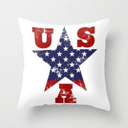 USA Flag Star Symbol Throw Pillow